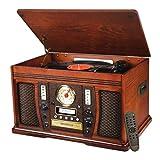 Victrola Nostalgic Aviator Wood 7-in-1 Bluetooth Turntable Entertainment Center, Mahogany (Renewed)