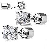Covet Jewelry - Par de arete de tuerca de acero quirúrgico 316L con LED transparente y cuadrado Batería incluida.