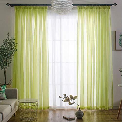 PENVEAT Feste Tüll Vorhänge für Wohnzimmer Schlafzimmer Tulle für die Küche Moderne Gardinen Fenster Voile Vorhänge Fertige Tür, hellgrün, W350xL270cm 1pieces, 4.Rod Tasche