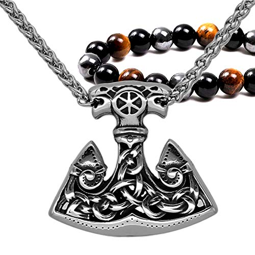 Fandao Skandinavien Mjolnir Hammer Anhänger Halskette, Wolf Kopf, Vintage Nordische Mythologie Irland Keltischen Knoten Anhänger, Edelstahl Halskette Schmuck - Doppel...