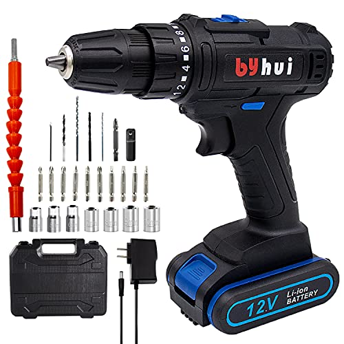 byhui Cordless Drill, 12V Cordless Drill Set with Battery and Charger, 275 In-Ib, 2 Variable Speed, 3/8 Inches Keyless Chuck, 18+1 Torque Settings and 27pcs Accessories for Drilling Wall Wood Metal