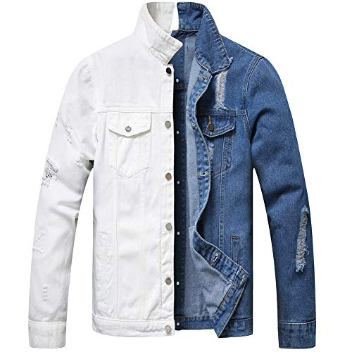 LZLER Jean Jacket for Men,Separable Left&Right Ripped Slim Fit Mens Denim Jacket(Blue-White, Large)