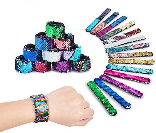(50% OFF) Reversible Sequin Slap Bracelets Pack of 16 $11.00 – Coupon Code