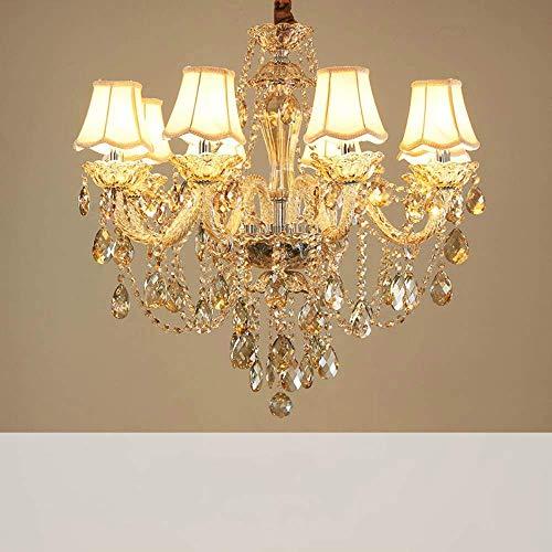 ZCZZ Lámpara de araña de estilo europeo para salón, dormitorio, moderno y minimalista, de cristal, de lujo, para hotel, villa, ático, de 8 + 4 D88 H70 cm, con cubierta