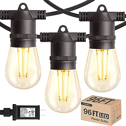 96FT Amico LED Outdoor String Lights with LED Edison Vintage Plastic Bulbs and Shatterproof Strand -...