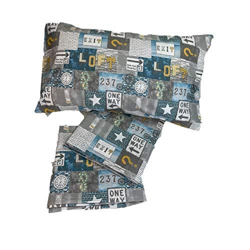 Zambaiti Juego de sábanas puro algodón fabricado en Italia – Fantasía, 1 plaza y 1/2