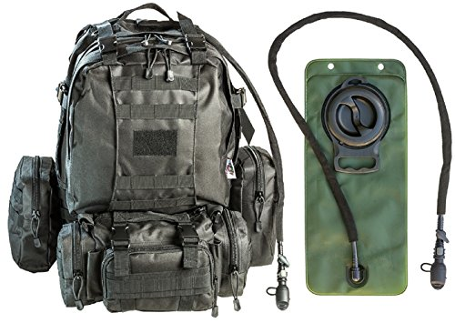 Tactical Military MOLLE Backpack Bundle with 2.5L Hydration Water Bladder & 3 Molle Bags by MonkeyPaks (Black)