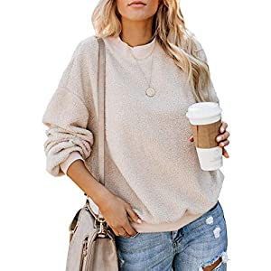 Women's Solid Color Casual Fleece Fluffy Crewneck Long Sleeve Fashion Sweatshirts Tops Pullovers