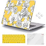 iCasso MacBook Air 13 inch Case 2018-2020 Release A2337M1/A2178/A1932 with Touch ID Retina Display, Plastic Hard Shell Case and Keyboard Cover Compatible Newest MacBook Air 13'' - Yellow Flowers