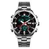 grandi casuale di quarzo analogico guidati orologi digitali doppio fuso orario orologio da uomo cinturino in acciaio inox di visualizzazione d'argento