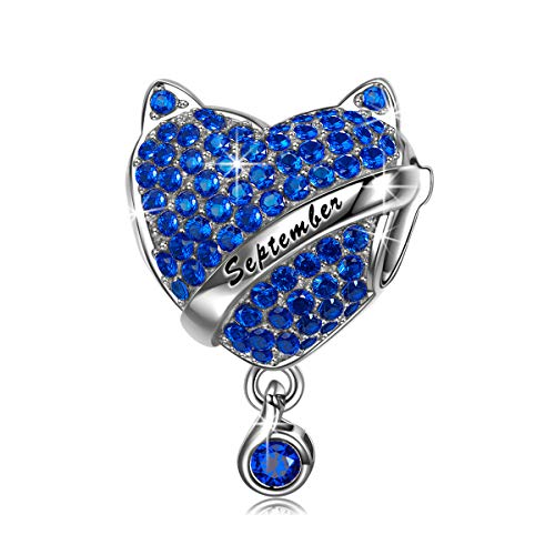 NINAQUEEN Birthstone Charms Bracelet Gifts Naughty Kitty 925 Sterling Silver Heart Dangle Bead...