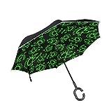 rodde Marcha atrás con Mango en Forma de C para Lluvia Al Aire Libre Alien Frog Paraguas a Prueba de Viento Doble Capa Hombres invertidos