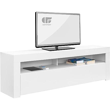 COMIFORT TV Stand - Table de Salon de Style Moderne avec Porte à charnière et Grandes étagères de Rangement, très Robuste, fabriqué en Europe, Couleur Blanc