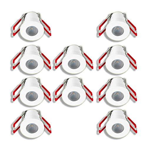 LEDUX 1W Mini Einbaustrahler IP65 Wassergeschützt 3000K Warmweiß Dimmbar, Mini-Einbauleuchten für Innen- und Außen, Terrassendach, Bad, Dusche (Weiss, 10er-Set)