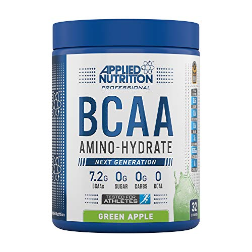 Applied Nutrition BCAA Powder Branched Chain Amino Acids Supplement with Vitamin B6, Replenish Electrolytes, Amino Hydrate Intra Workout and Recovery Powdered Energy Drink 450g (Green Apple)