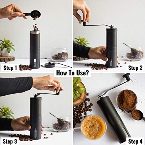 InstaCuppa Manual Coffee Grinder with Adjustable Setting - Conical Burr Mill & Brushed Stainless Steel - Burr Coffee Grinder for Aeropress, Drip Coffee, Espresso, French Press, Turkish Brew