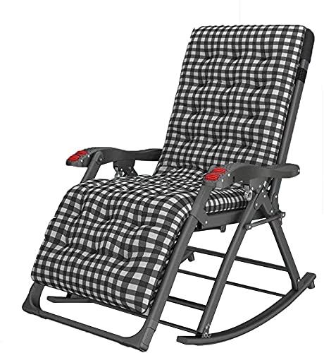 Terrasse Liegestühle Garten Schaukelstuhl mit Matratze Folding Recliner Outdoor Einstellbare Sonnenlieger Rocker Zero-Schwerkraftsitz mit Kopfstütze Seitenhalter Patio Deck unterstützt bis zu 1000 lbs