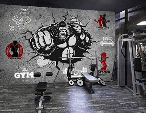 Lovemq Tapete Hintergrund-Tapetenbenutzerdefinierte 3D Gym Cartoon Fototapete Kreative Fitness Bodybuilding Gorilla Breaking Wand Gym Hintergrundwan-240X165Cm