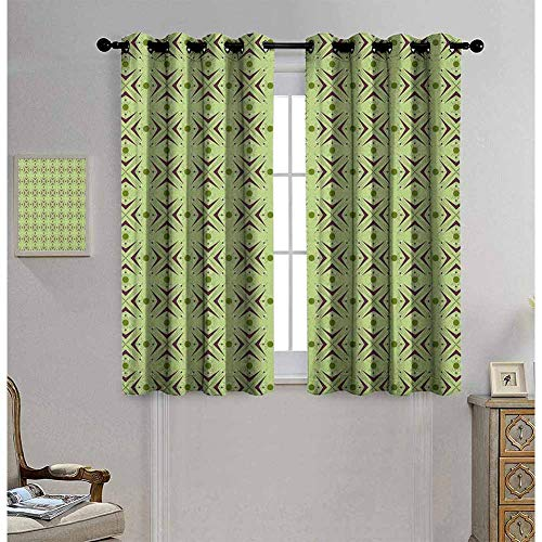 Mid Century Shading insulated curtain Atomic Form with Boomerang Details Dots and Crossed Lines For living room or bedroom W42 x L84 Inch Apple Green Plum Bondi Blue