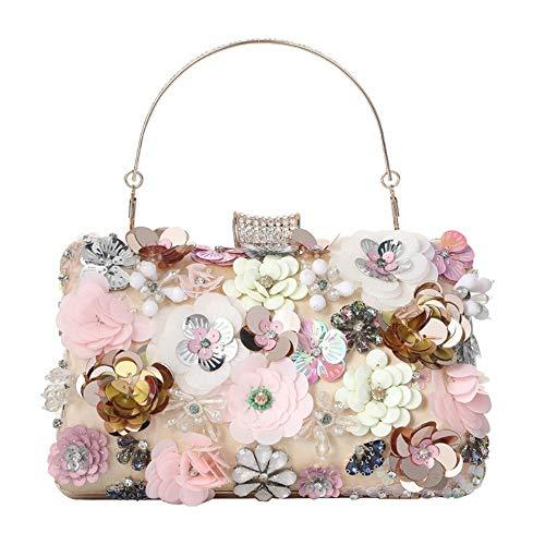 Bolso de noche hecho a mano de la flor de las mujeres de la moda de lujo del partido bolsos de la boda bolso floral monederos y bolsos bolso de embrague, Rosa/Rebel Fun., Small