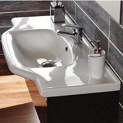 CeraStyle 081200-U-One Hole Yeni Klasik Rectangular Ceramic Wall Mounted/Self Rimming Bathroom Sink, White