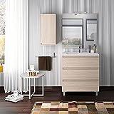 Mueble Lavabo BOX con patas 3 y 6 cajones ABEDUL 60 cm lavabo Clásico
