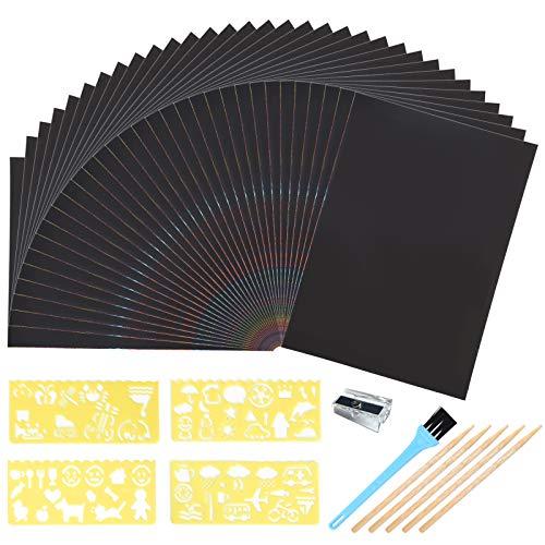 duoledaeu Kratzbilder Set für Kinder, 50 Blätter Kratzpapier zum Zeichnen und Basteln mit Schablonen, Holzstiften für Erwachsene Jungen Mädchen DIY
