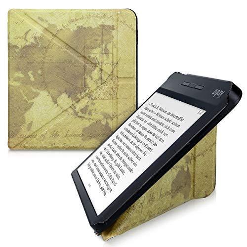 kwmobile Funda Compatible con Kobo Libra H2O - Carcasa magnética de Origami para e-Book - mapamundi Vintage marrón/marrón Claro