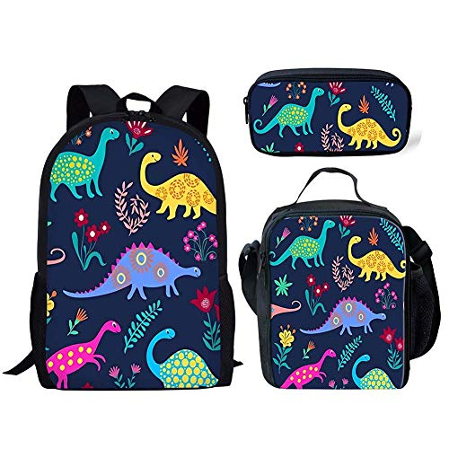 FANCOSAN Cartoon Dinosaur Print Kids Boys Backpack School Bookbag Lunch Bag Pencil Bag 3 Pieces Set