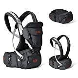 SUNVENO Baby Hipseat Ergonomic Baby Carrier Soft Cotton 6 in 1 Safety Infant Newborn Hip Seat for Home, Outdoor, Travel, 6-36 Months Babies Girls and Boys, Black