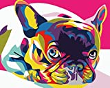 Cross Stitch Kits for Beginners Child-Cute Colorful French Bulldog-DIY Stamped Embroidery Needlework Needlepoint Cross Stitch-Christmas Art Home Decoration-16x20 inch (11CT Pre Printed Canvas)