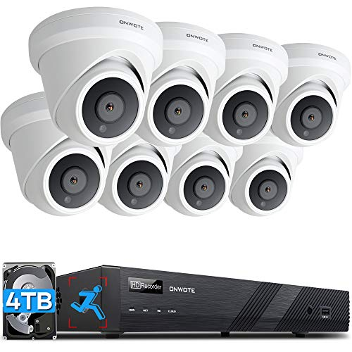 ONWOTE 16 Channel 4K PoE Security Camera System 4TB HDD, Smart-Human-Detection, 16CH H.265+ 8MP NVR, (8) 4K Wired Outdoor PoE IP Cameras, 2 Storage Bays, Record Audio, 16-CH Synchro Playback