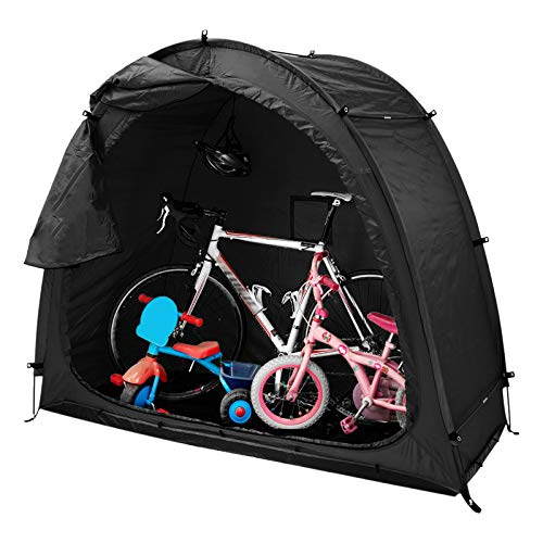 Cubierta de Bicicleta Tienda de Almacenamiento,Herramienta de Servicio Pesado Cobertizo de Almacenamiento con Impermeable/A Prueba De Polvo/Durable/PortáTil/Plegable para Exterior,Negro