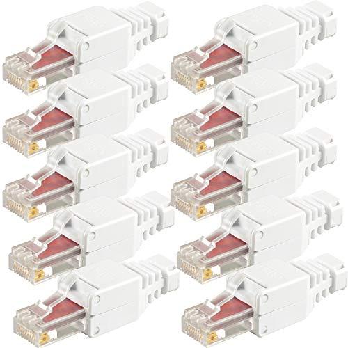 VESVITO 10x RJ45 CAT 6 UTP Netzwerkstecker werkzeuglos 250 MHz, PoE++, Crimpstecker, Stecker für CAT6 CAT6A CAT5e Netzwerkkabel Patchkabel Verlegekabel AWG 22-26, Kabel Ø bis 6,3 mm, Ethernet LAN