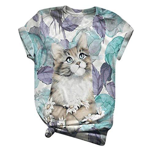 Damen T-Shirts Sommer Lustig Katze Fisch Tier Gedruckt Tie-Dye Kurzarmshirt Rundhals Oberteile Tunika Tops Einfaches Feiertags Tshirt Frauen Casual Tee Sommershirt