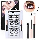 iBesi Magnetische Wimpern mit Eyeliner - 10 Paar softe und wiederverwendbare 3D 5D Magnetische...