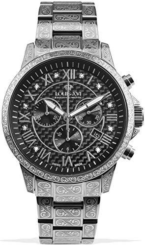 LOUIS XVI Herren-Armbanduhr Palais Royale Stahlband Silber Schwarz Karbon echte Diamanten Römische Zahlen Chronograph Analog Quarz Edelstahl 1019