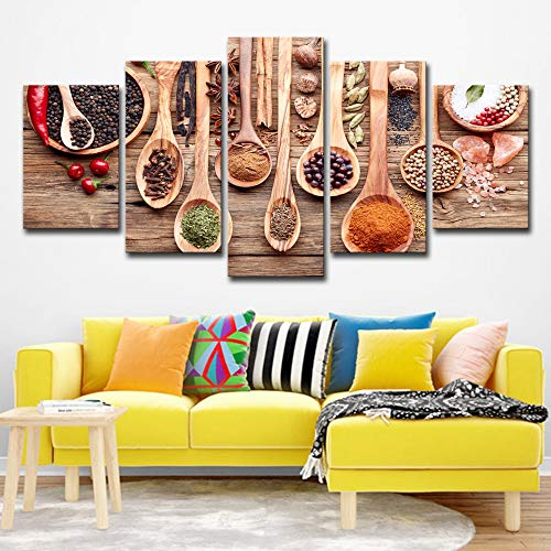 WSNDGWS Wulian Houten Lepel En Condiment Patroon Canvas Schilderen Huisdecoratie Spray Schilderen Canvas Geen Beeld Frame 40x60cmx2 40x80cmx2 40x100cmx1 A3