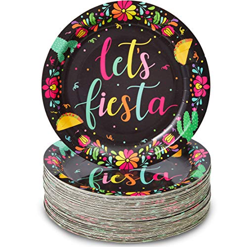 Let's Fiesta Paper Party Plates for Cinco de Mayo (Black, 9 Inches, 80 Pack)