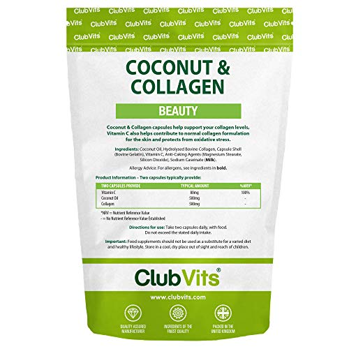 Coconut & Collagen 90 Capsules Beauty Skin Hair Anti Wrinkle ClubVits