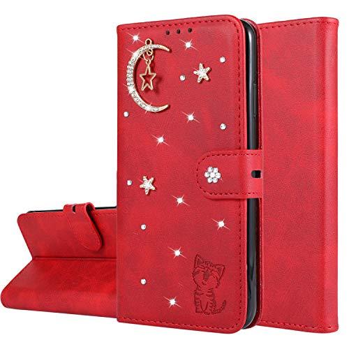 Miagon Diamant Brieftasche Hülle für Huawei P30 Lite,Mond Star Katze 3D Design PU Leder Flip Handyhülle Klapphülle Klappbar Silikon Bumper Schutzhülle,Rot