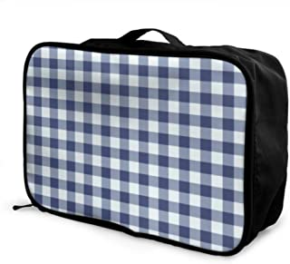 Custom Personal Luggage Bag Lightweight Playground Navy Blue White Gingham Check Wallpaper Traveler Duffel Bag Foldable Portable Storage Luggage Bag With Trolley Sleeve