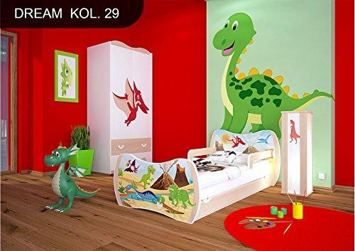 Happy Kinderbett Birne mit Matratze Bettkasten und Lattenrost - Verschiedene Motive DM (Dinosaurier, 140x70)