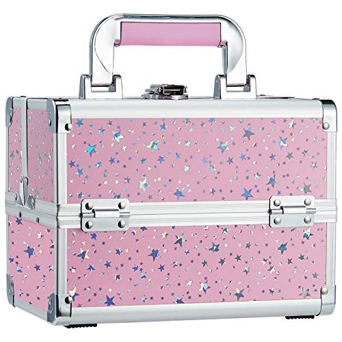 Joligrace Makeup Box Cosmetic Train Case Jewelry Organizer 2 Trays with Lockable Keys Mirror Portable Carrying with Pink Handle Makeup Travel Storage Pink Star
