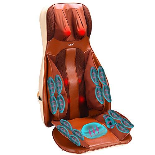 GESS 10-Motor 3 Intensity Vibration Massage Seat Cushion with Heat - Neck - Shoulder - Back &...