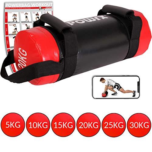 POWRX Power Bag 5-30 kg Kunstleder Fitness Bag für Functional Fitness (20 kg Schwarz/Rot)