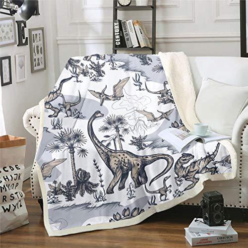 Manta de forro polar para niños, diseño de dinosaurios, para sofá, cama, diseño de dinosaurios, 130 x 150 cm