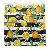 BALII Orange Zitrone Duschvorhang, Gestreift, 182,9x 182,9cm Polyester Wasserdicht mit 12Haken für Badezimmer