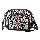Women Bohemian Embroidered Small Cross-body Bag Cellphone Purse Smartphone Wallet Handbags Wristlet Bag with Adjustable Shoulder Strap(Black + Flower 03)