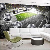 Lcymt 壁画Hdサッカーフィールドシルバーサッカーアート壁紙リビングルームレストランの背景の壁の装飾壁の絵画-250X175Cm